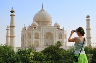 Tourist in front of Taj Mahal