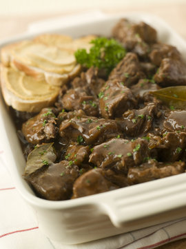 Dish of Beef Carbonnade with Mustard Crouton