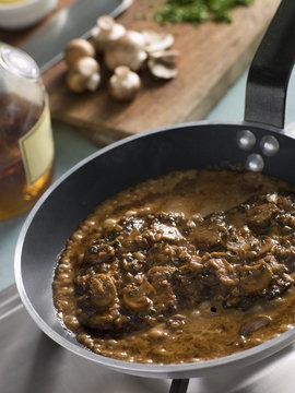 Steak Diane in a Saute pan