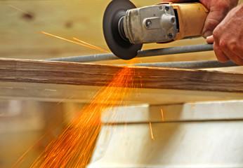 Sparks Cutting Metal Rod