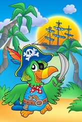 Zelfklevend Fotobehang Piraten Pirate parrot with boat