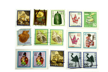 Colorful historic stamp collection