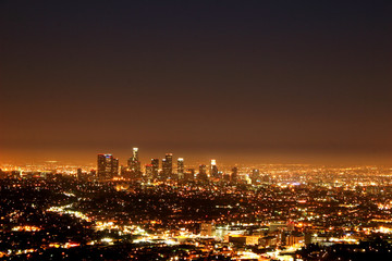 Spoed Fotobehang Los Angeles Los Angeles by night