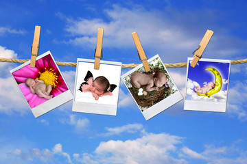 Infant Baby Polaroid Portraits Hanging on A Sky Background