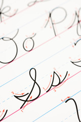 Cursive writing practice.