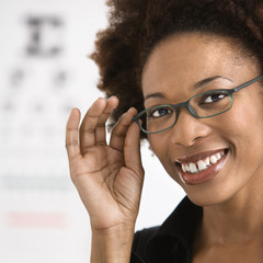 Woman getting eyeglasses