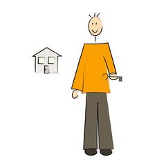homme clé devant sa maison