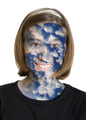 face of the young girl in the clouds