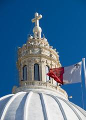 church with maltese flag malta detail