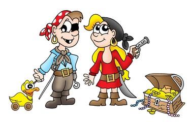 Foto op Plexiglas Piraten Pirate kids with duck and treasure