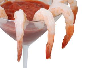 Shrimp cocktail in martini glass.