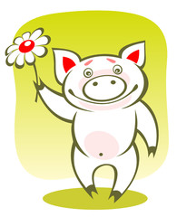 piggy and flower