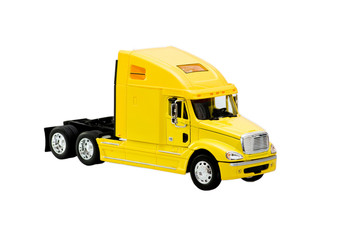 yellow toy truck isolated over white background