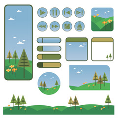 web elements with trees and flowers