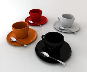 Tazzine colorate di caffè