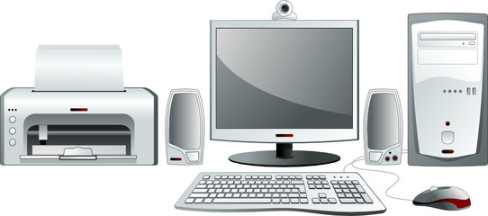 Desktop computer configuration. Vector illustration
