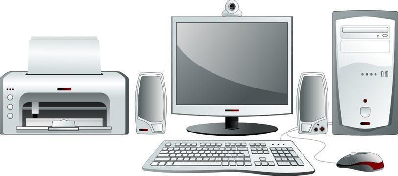 Desktop computer configuration. Vector illustration