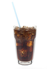 Glass of soda with straw