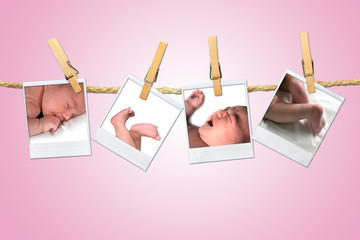 Newborn Infant Shots Hanging on a Rope With Clothespins
