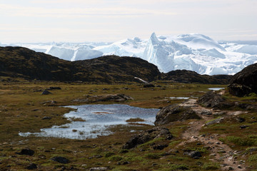 The Sermermiut valley and the Icefjord near Ilulissat, Greenland