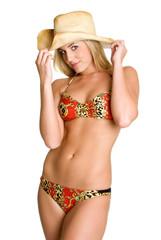 Bikini Girl Wearing Cowboy Hat