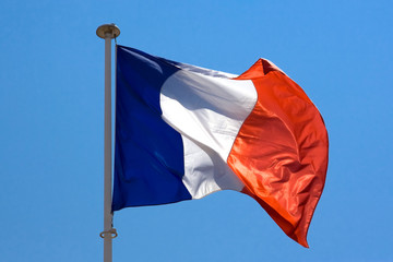 French flag on blue sky