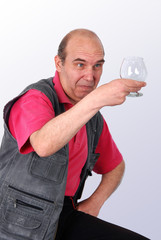 Senior Man with Surprise Glass