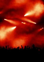 rote licht-show eines konzerts