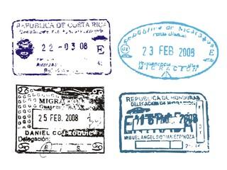 Pasport stamps from Costa Rica, Nicaragua, Guatemala, Honduras