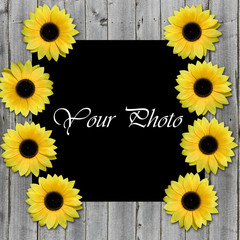 Frame for photo with sunflowers