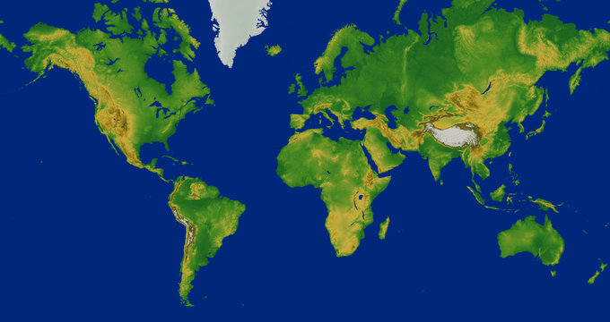 Mercator world map with terrain