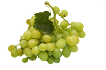 Green grape cluster with leaves