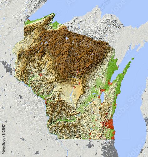 """Wisconsin, Relief Map, Colored According To Elevation"