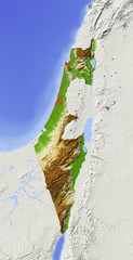 Israel, relief map, colored according to elevation