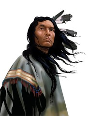 Lakota warrior su bianco