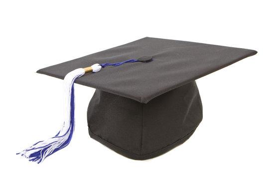 Graduation cap with blue white tassel