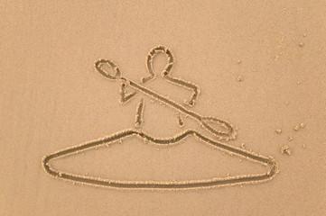 Kayak sand drawing