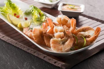 black tiger prawns, salad and dips