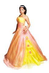 Young hispanic woman wearing fancy colorful dress