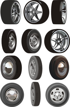 Vector car wheels set