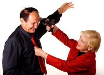 Woman threatening pistol man