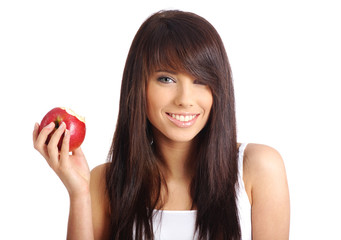 Smiling girl with apple