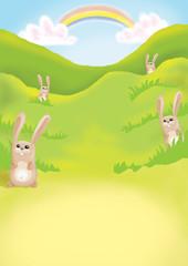 Spoed Foto op Canvas Regenboog kids illustration 17