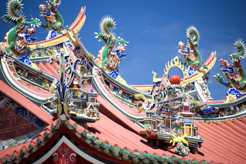Fototapete - Dragons of Chinese Temple Roof