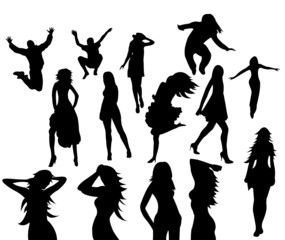 Set of Vector Silhouettes Party Girls + more