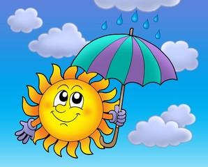 Sun with umbrela on cloudy sky