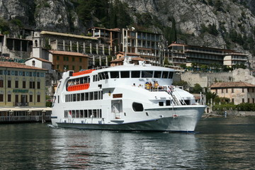 Ferryboat in Limone on Lake Garda in Italy