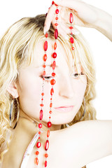Beautiful blonde with beads