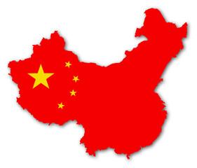 china karte fahne schatten map