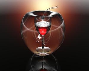 3D transparent apple